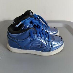 Skechers Energy Lights Kids Boys Size 12 LED Shoes Blue HighTop Sneaker SN90603L