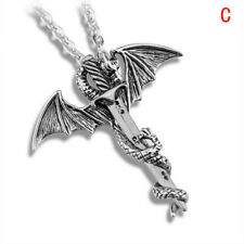 Stainless Steel Luminous Fly Dragon Sword Pendant Chain Necklace Mens Jewe FT