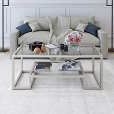 Coffee Table Nickel Glass Top Shelf Silver Furniture Living Room Center Storage