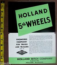 Vintage HOLLAND 5th WHEELS BROCHURE HITCH COMPANY MICHIGAN Mutual Truck Chicago