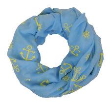 Loop Anker blau gelb by Ella Jonte Damenschal Schal Ankerloop Steuerrad hellblau