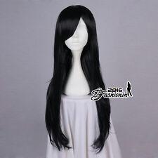 80CM Black Long Wavy Hair Women Basic Synthetic Cosplay Wig Heat Resistant