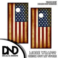 OLD AMERICAN FLAG Cornhole Board Decal Wraps Vinyl Sticker USA Set of 2