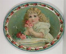 ca1901 LARGE SIZE TIN LITHOGRAPH ADVERTISING SERVING TRAY CHARMING LITTLE GIRL