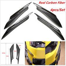 Real Carbon Fiber 4pcs Front Bumper Splitter Fins Body Spoiler Canards Valance
