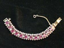 AMAZING Chunky Vintage Signed LEUR ORCHID/LILAC RHINESTONE Link Bracelet