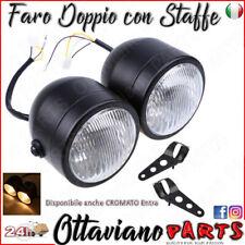 Faro Moto Doppio UNIVERSALE Nero compreso di Staffe e Viteria Tutte le Moto M61