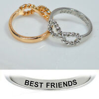 Letter Best Friends Engraved Infinity Friendship Ring Women Jewelry Gift Charm