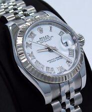 Rolex Datejust 179174 18K White Gold Bezel Roman Dial Jubilee Ladies Watch *MINT