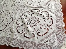 BEAUTIFUL VINTAGE HAND EMBROIDERED CUTWORK LACE WHITE LINEN  TABLE CLOTH 46X47""