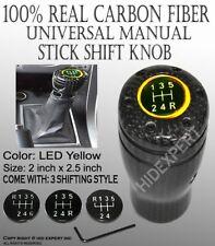 JDM Carbon Fiber Shift Knob Yellow LED Sport Racing Manual Threaded Shifter J150