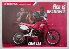 Prospectus Catalogue Brochure Moto Honda CRM 125 1989