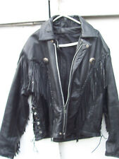 Black Leather Western FRINGED Motorcycle Biker JACKET Coat Sz 46 (#173)