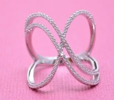 BEAUTIFUL DOUBLE CRISS CROSS PAVE STONES RING Genuine Sterling Silver Size 9.5