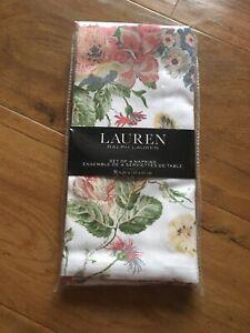 RALPH LAUREN  Floral Garden Napkins X 4   -51cms X 51cms  - Brand New