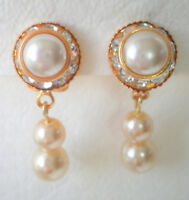 Clip on faux pearl and crystal cluster gold tone clip on earrings Approx. 3cm