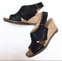 NWOT Clarks Helio Float Cork Wedge Sandals Size 6 Suede Leather Shoes Women's