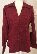 NWT Coldwater Creek LS 100% Cotton Red/Black Paisley Tunic/ Shirt- Size M(10-12)