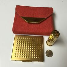 Vintage Brite Mode Set Red Carrier Powder Compact and Lipstick Tube