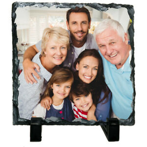 Personalised Custom Picture Square Rock Slate Any Photo Image Text 20 x 20cm