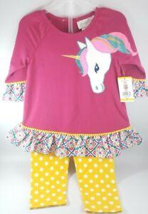 Emily Rose Long Sleeve Unicorn Shirt & Pants Set Girls Plum Sizes 3T 4T 5 6 8