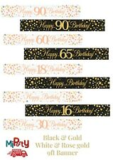 Birthday Flag Banner Home & Garden Decorations for age 16 to 90 Rose Gold & Gold