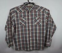 Wrangler Men's Red Plaid 3XL Long Sleeve Button-Front Pearl Snap Western Shirt