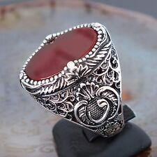 Mens ring 925 Sterling Silver Carnelian Aqeeq Akik Turkish Craftmanship