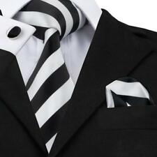 USA Classic White Black Striped Mens Tie Necktie Busines Silk Set Wedding Sn-276