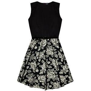 Kids Girls Skater Dress Floral Contrast Panel Summer Party Dance Dresses 7-13 Yr
