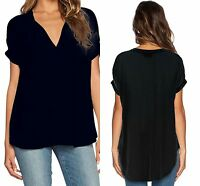 Womens Black V Neck Short Sleeve Oversize Chiffon Blouse Size 6 8 10 12 14 16 18