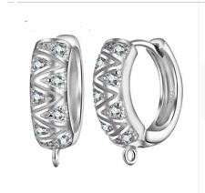 925 Sterling Silver Rhinestone Hook Ear Wire DIY Hoop Earring Findings Component