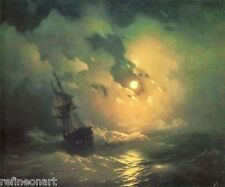 """Ivan Aivazovsky A Tempest Storm at Sea Handmade Oil Painting repro 36""""x48"""""""