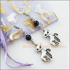 Winsome Silver Retro Cat Black Glass Dangle Hook Earrings Women Jewelry
