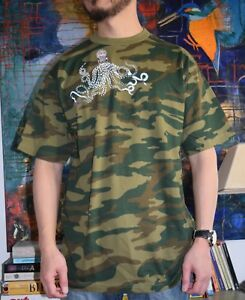 NEW Camouflage Print Tee with a Hand Painted OCTOPUS - Size LARGE