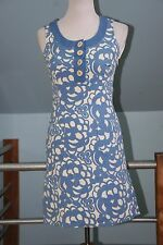 Boden Sleeveless Casual Weekend Dress Blue White Floral Above Knee Pockets US 4