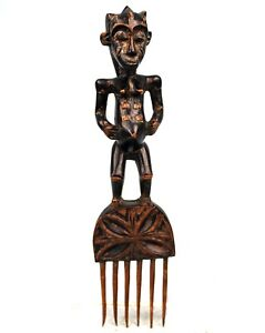 Art Africain - Grand Peigne Gouro - Superbe Patine - Collection Perso - 41 Cms