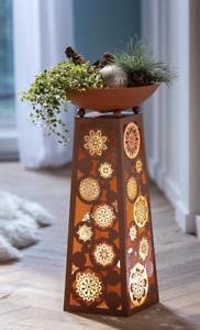 Metall Pflanzsäule Rost Mandala mit LED Beleuchtung - Pflanzschale, Deko -