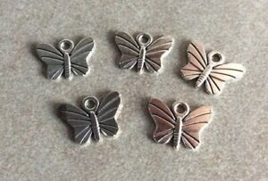 Antique Silver Butterfly Charms, 5pcs, 11x15mm, Jewellery Making
