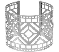 "BRONZO ITALIA WHITE BRONZE 2"" ART DECO CUT-OUT AVERAGE CUFF BRACELET QVC $129.90"