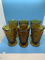 Vintage Indiana Amber Glass Whitehall Cubist Pattern 14 Oz Tumblers Lot of 6