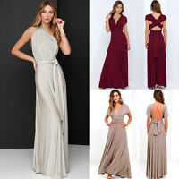 Womens Bridemaid Gown Convertible Multi Way Wrap Evening Party Long Maxi Dress