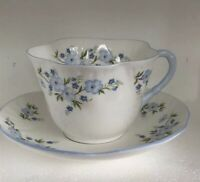 Vtg Royal York Bone China Teacup & Saucer Petite ENGLAND Blue Floral Rock Garden
