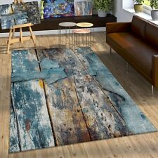 Tapis Design Coloré Bois Effet Relief En Turquoise Jaune Gris Chiné