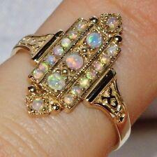 9ct Oro Giallo Opale Cabochon Victorian Design Donna Cluster Anello-Taglia P