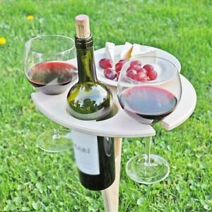 Outdoor Wine Table Portable Picnic Table Wine Glass Rack Collapsible Table KJ