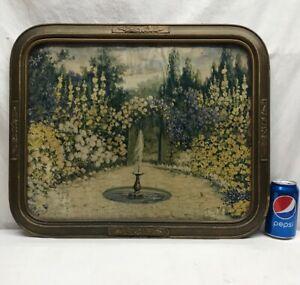 Vtg 1920-30's Flower Garden Gate Fountain Landscape Barbola Frame Litho Print