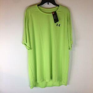 Under Armour Athletic Tee Shirt Men 3 XL Short Sleeve Drop Tail Heatgear Lime