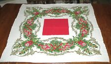 Vintage Holiday Square Tablecloth Holly Pine Bows 40 by 48 inches