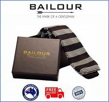 BAILOUR Tie Men's Black & White Luxury Formal Stripe Knitted Skinny Slim